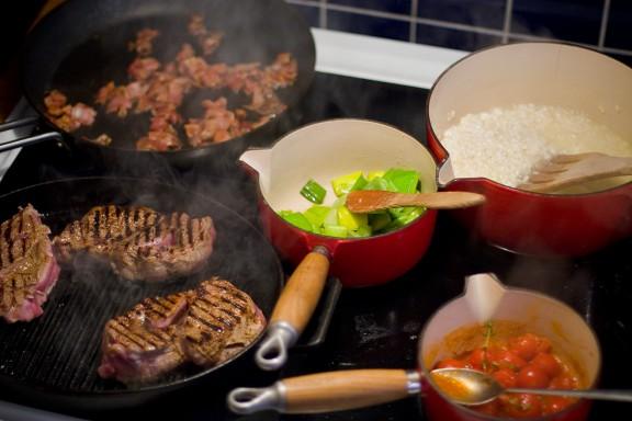 Kalventrecôte med risotto, purjo & pancetta